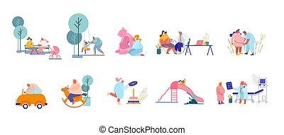parents, visiter, mâle, caractères, playground., docteur, jouer, préparer, enfant, ensemble, femme, enfants, femmes, naissance