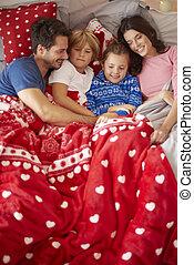 paresse, lit, noël famille