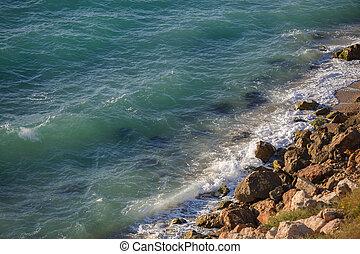 paresseux, rocheux, lapping, turquoise, vagues, falaise