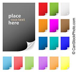 parfait, ajouter, gallery., pelé, collection, multicolore, papier, vecteur, corner., texte, design., mon, plus