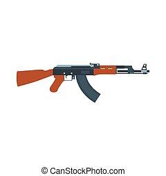 parfait, art, illustration., armée, arme, fusil, isolé, machine, assaut, vecteur, fusil, militaire, automatique, icône