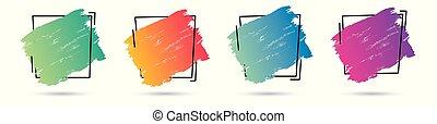 parfait, ensemble, grunge, frame., banner., affiche, sur, texture, peinture, vecteur, conception, acrylique, logo, titre