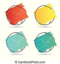 parfait, ensemble, grunge, titre, affiche, sur, texture, peinture, coup, conception, brosse, vector., logo, acrylique, bannière, cadre
