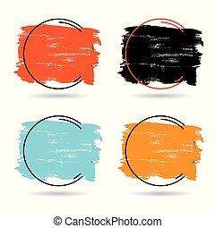 parfait, ensemble, grunge, titre, banner., affiche, sur, texture, peinture, coup, conception, brosse, vector., logo, acrylique, cadre
