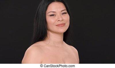 parfait, femme, beauté, figure, asiatique, peau, sexy