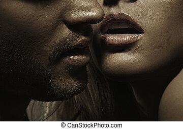 parfait, femme, jeune, cheveux, lèvres, facial, sensuelles, homme