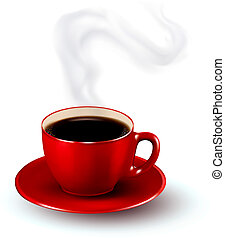 parfait, steam., café, illustration., tasse, vecteur, conception, template., rouges