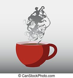 parfait, steam., tasse à café, illustration, vecteur, rouges