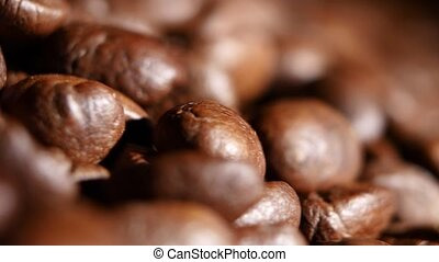 parfumé, café, brun, grand, haut, rotating., tas, rôti, fin, beans.