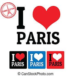 paris, étiquettes, amour, signe
