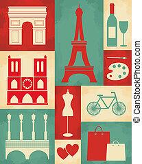 paris, affiche, retro