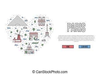paris, affiche, style, amour, linéaire