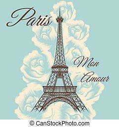 paris, amour, lun, vendange, affiche