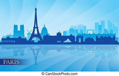 paris, fond, horizon, ville, silhouette
