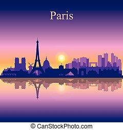 paris, horizon ville, silhouette, fond