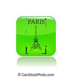 paris, illustration, isolé, icône, vecteur, unique