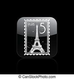 paris, isolé, illustration, unique, vecteur, icône