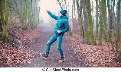 park., danseur, ville, mouvements, vêtements, danse, marques, hiver