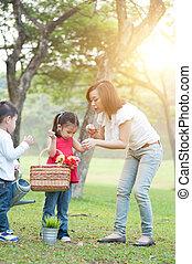park., mère, style de vie, enfants, nature