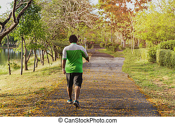 park., marche, asiatique, exercice, énorme, homme