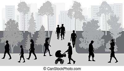 park., vecteur, foule, gens, illustration., marche, silhouettes
