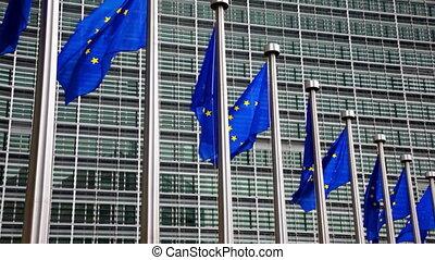 parlement, onduler, drapeaux, eu, vent, européen