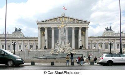parlement, promenade, devant, autrichien, touristes, photographié