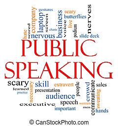 parler, concept, mot, public, nuage