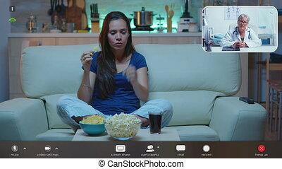 parler ligne, femme, personnel, docteur, webcam