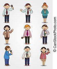 parler, orateur, microphone, bureau, ensemble, dessin animé, rigolote, ouvrier