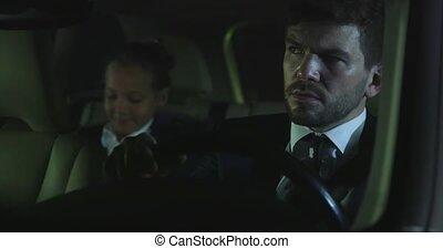 parler, voiture., girl, homme