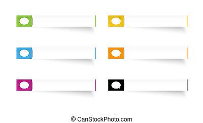 parole, étiquettes, bulle, rectangle, icône