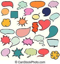 parole, bulles, coloré, dialogs, comique