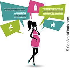 parole, bulles, femme, silhouette, pregnant