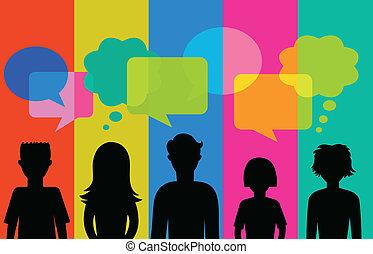 parole, bulles, silhouette, jeunes