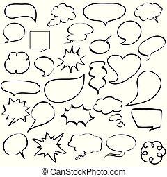 parole, dialogs, icônes, bulles, comique