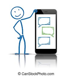 parole, stickman, smartphone, messager, bulles