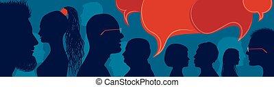 part, bubble., parler, gens, foule, silhouette., profil, entre, gens., socialize., multiculturel, ideas., conversation, inform., multiethnic, bleu, groupe, communiquer, parole, diversité