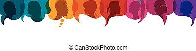 part, bubble., profile., parler, gens, socialiser, foule, silhouette, entre, gens., têtes, multiculturel, ideas., conversation, inform., groupe multi-ethnique, communiquer, parole, diversité