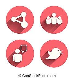 part, gens, groupe, bubble., parole, icons.