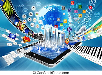 partage, concept, multimédia, internet