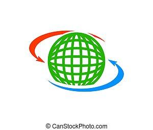 partage, global, élément, conception, logo, icône