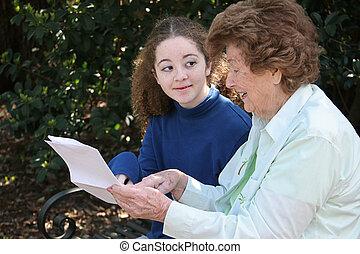 partage, grand-maman, sagesse