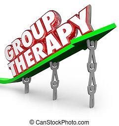 partage, groupe ensemble, malades, séance, thérapie, guérison, traitement