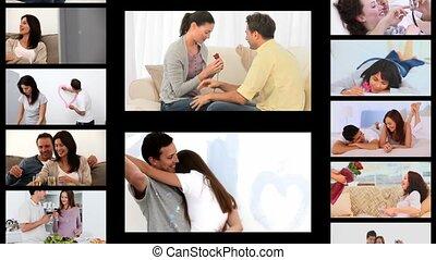 partage, romantique, montage, couples