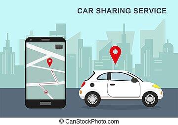partage, vecteur, illustration., service voiture, concept.