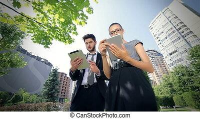 partenaires, bon, réjouir, business, fonctionnement, obtenir, tablette, nouvelles
