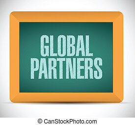 partenaires, message, global, conception, illustration