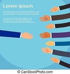 partenaires, poignée main, groupe, professionnels, mains, personne, choisir, secousse