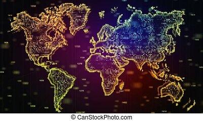 particles., présentation, monde effectue, map., aléatoire, incandescent, business, animé, carte, projet, fond, nombres